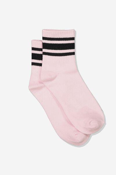 Wide Stripe Sporty Crew Socks, BLUSH/BLACK