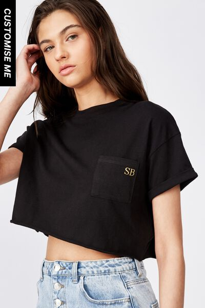 Customised Ciara Crop Tee, BLACK