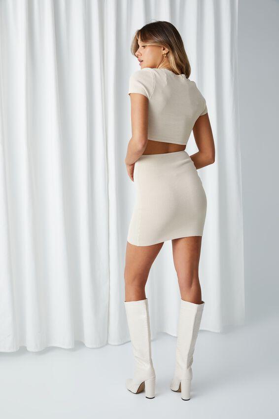 Evie Short Sleeve Cut Out Mini Dress, BEIGE BUFF