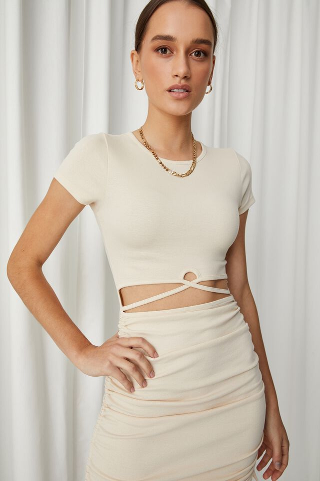 Jules Cutout Ruched Dress, COOKIE CREAM