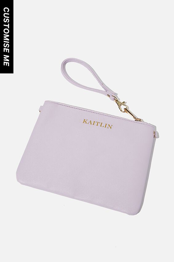 Customised Sofia Zip Pouch, TEXTURE LILAC
