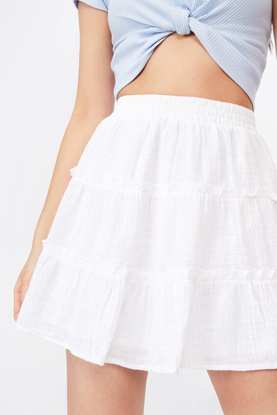 Annie Tiered Skirt, WHITE