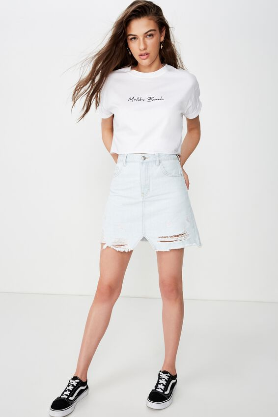 Tamara Graphic Crop Tee, WHITE/MALIBU BEACH