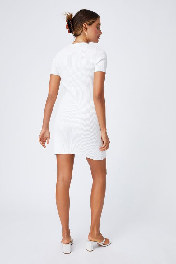 Corinne Buttoned Mini Dress, WHITE
