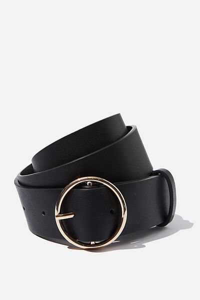 Eva Circle Belt, BLACK/SHINY GOLD