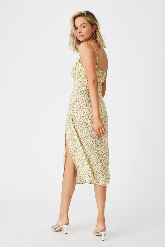 Juliet Split Front Midi Dress, DAPHNE FLORAL YELLOW