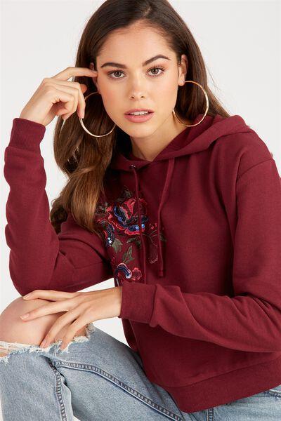 Fashion Embellished Sweat Top, BURGUNDY/FLORAL