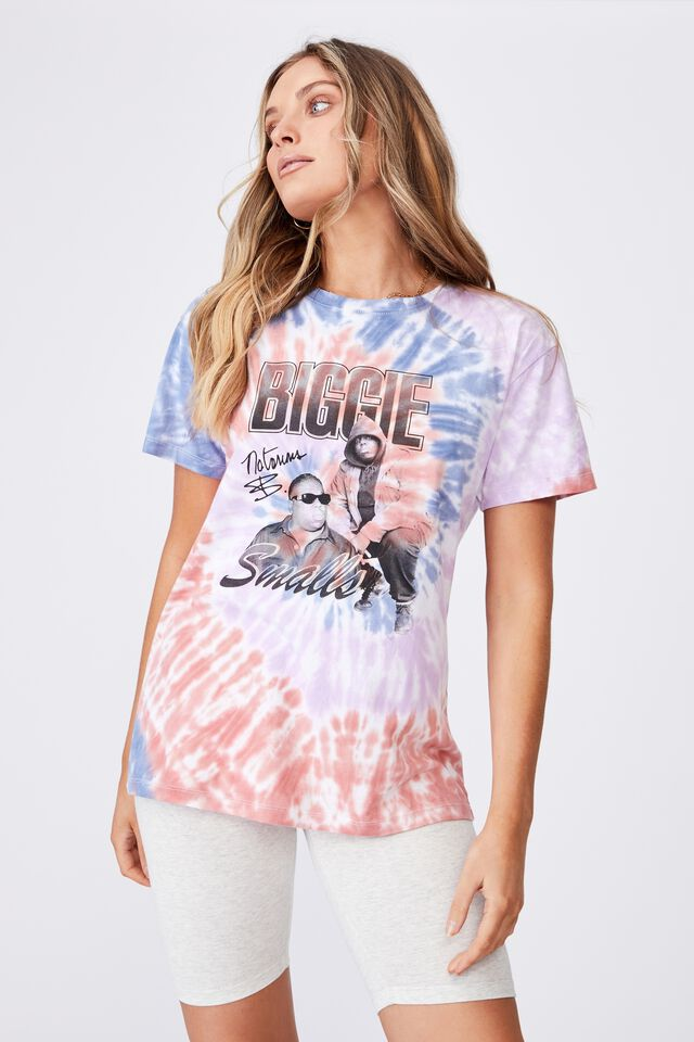 Kendall Printed T Shirt, CIRCLE TIE DYE/LCN MT BIGGIE SMALLS