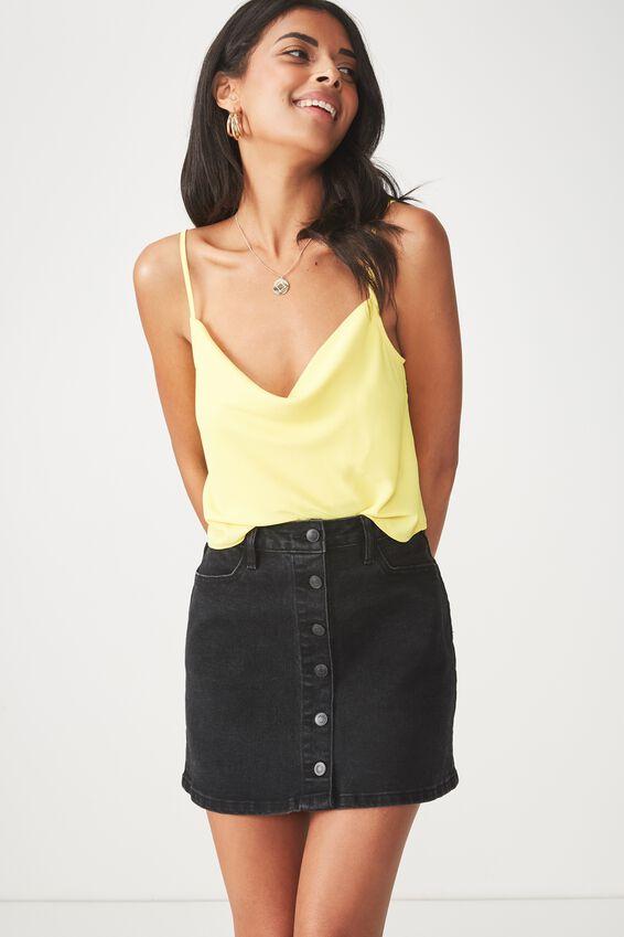 The Bel Air Button Through Denim Mini Skirt, BLACK