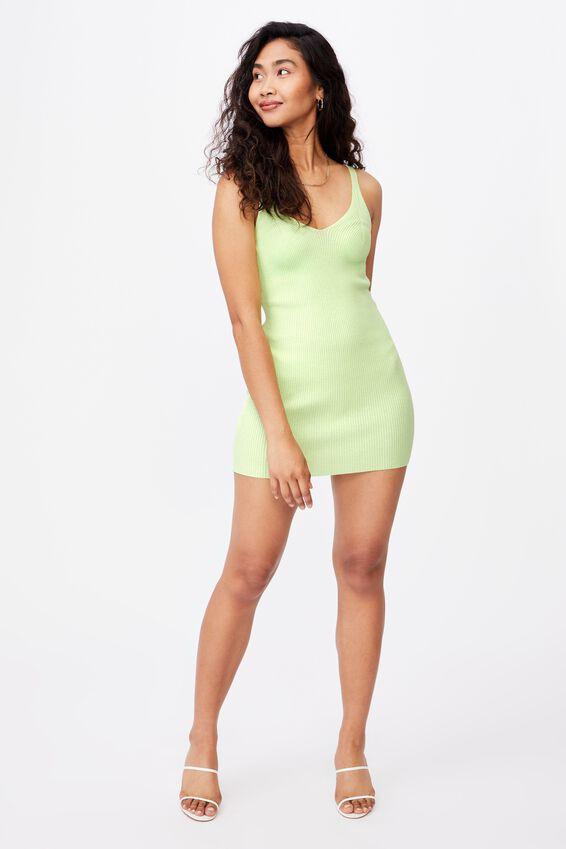 Felicity V-Neck Knit Dress, PINE LIME