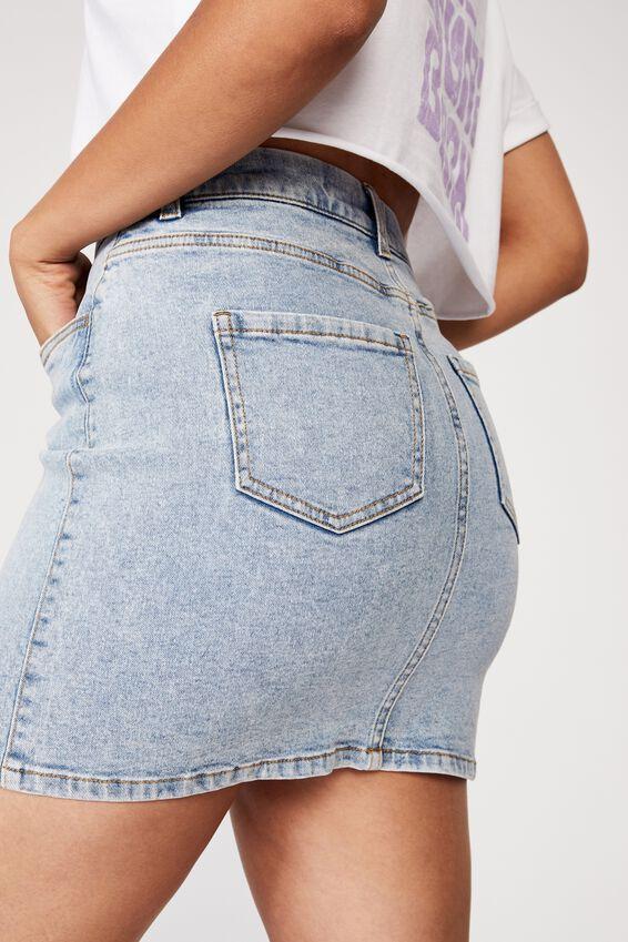 Clara Stretch Denim Mini Skirt, STONE BLUE