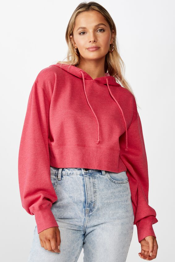 Crop Hoodie, BLEACH WASH RETRO RED