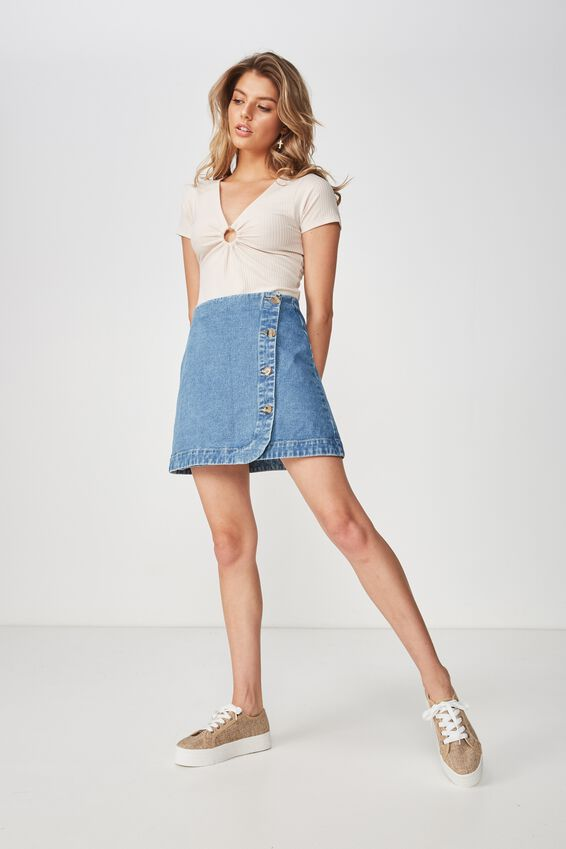 Cindy Asymmetric Wrap Skirt, RIVER BLUE