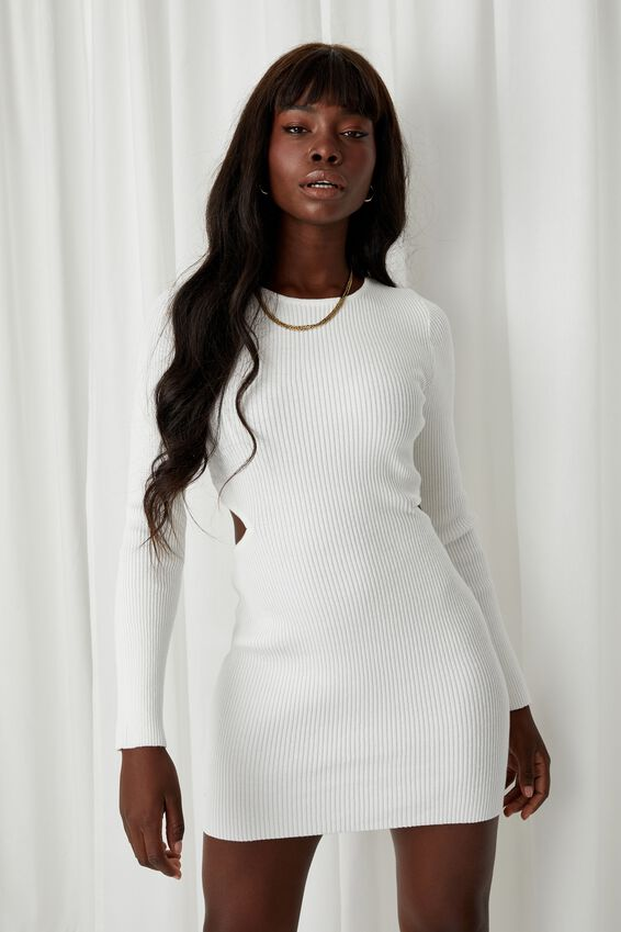 Raven Cutout Mini Dress, WINTER WHITE