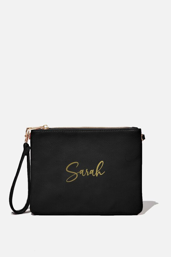 Customised Sofia Zip Pouch, BLACK PEBBLE