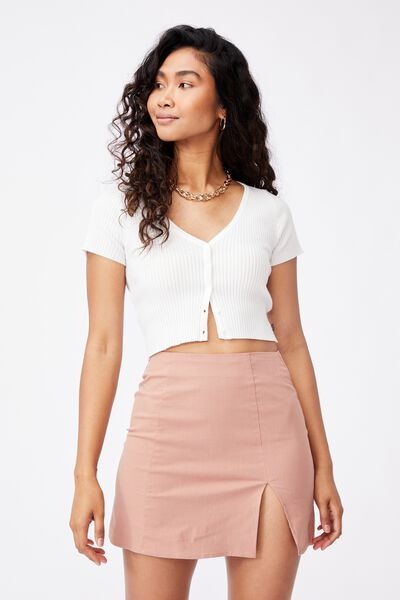 Michelle Split Mini Skirt, BLUSH BRONZE