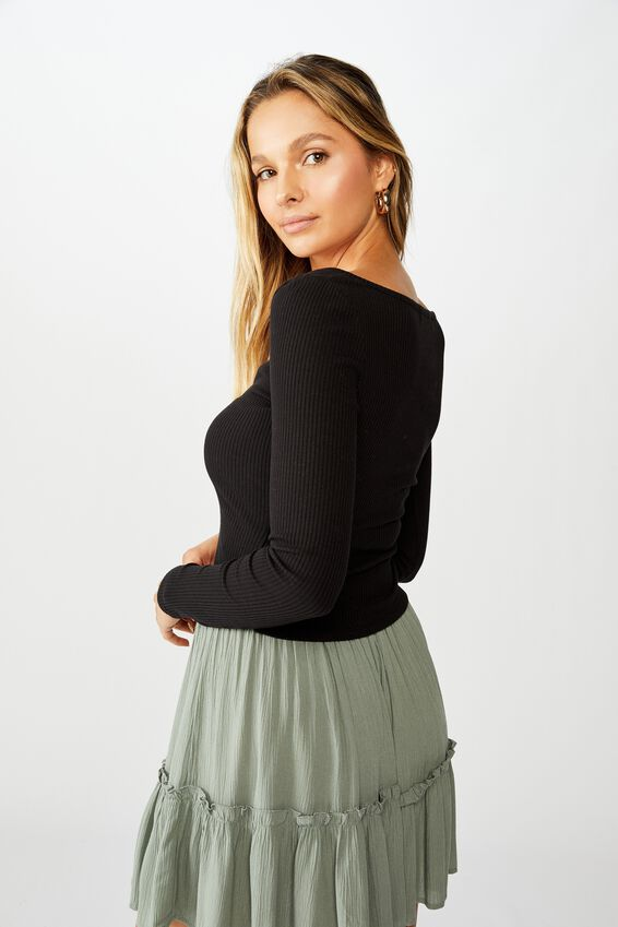 Tara Notch Front Long Sleeve Top, BLACK