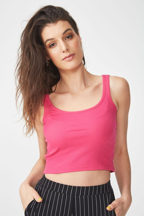 Rita Ribbed Singlet, BEETROOT PINK