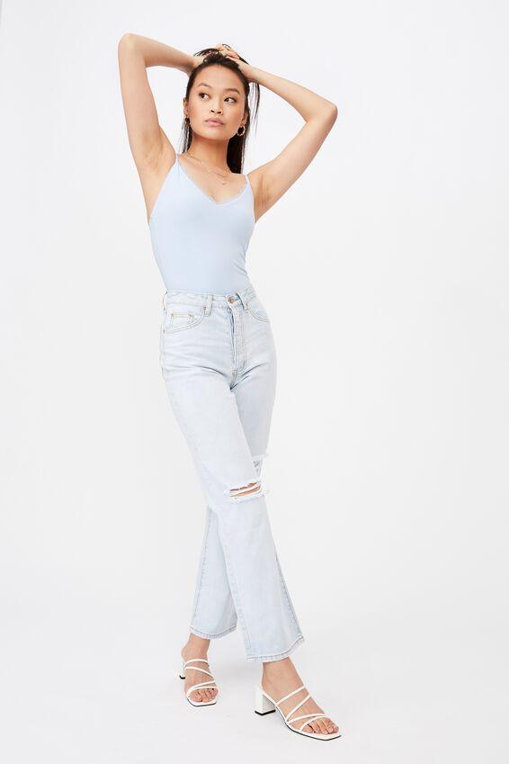 Ines Lace Trim Bodysuit, BLUE PETAL