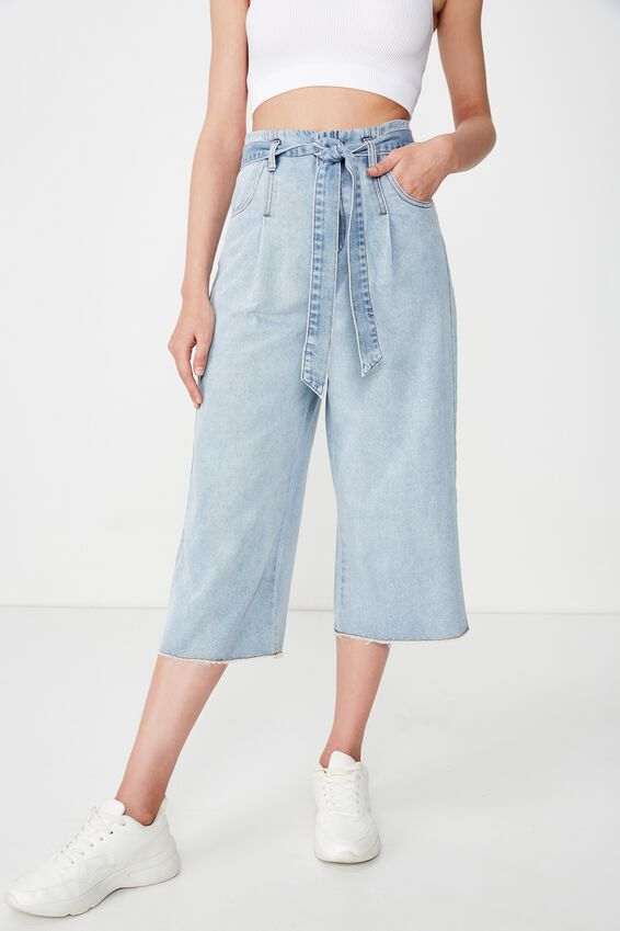 Crop Paperbag Waist Pant, BLUE