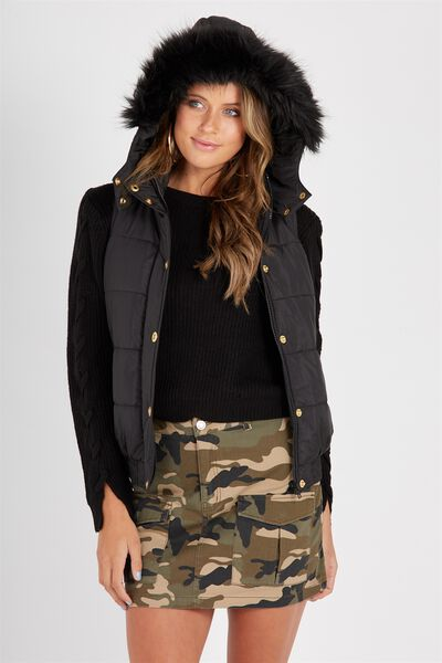 Faux Fur Trim Puffa Vest, BLACK