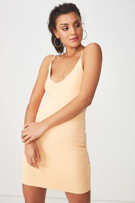 Deep V Double Layer Mini Dress, CHAMPAGNE PEACH