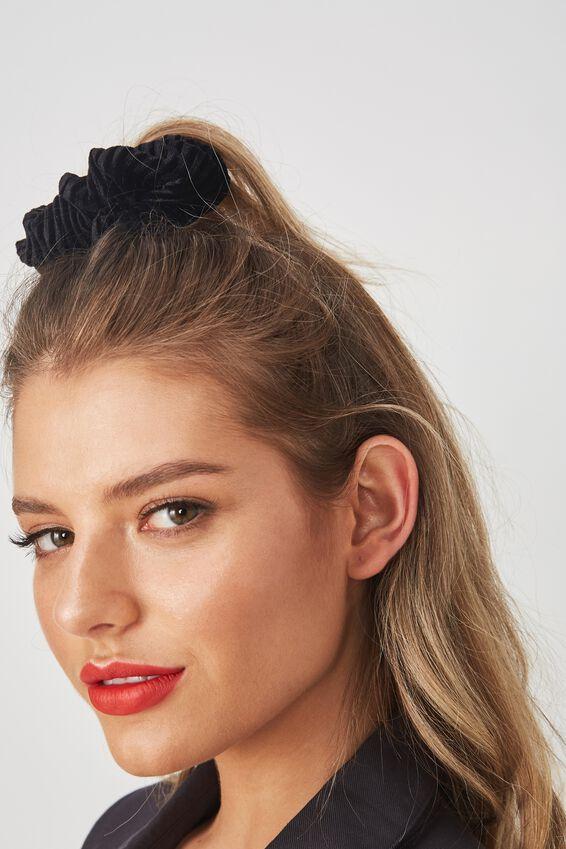 Pleated Plush Scrunchie, BLACK