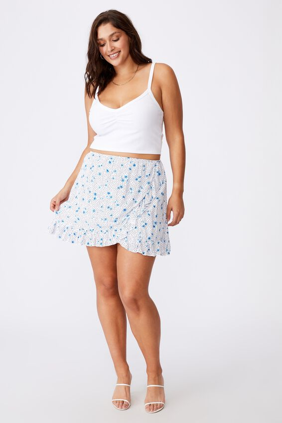 Alana Frill Wrap Skirt, HOLLY FLORAL WHITE