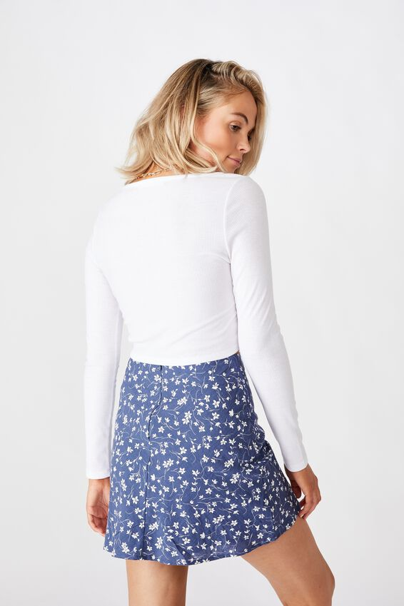 Holly Split Mini Skirt, PATRICIA FLORAL BLUE