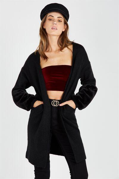 Faux Fur Trimmed Cosy Cardi, BLACK
