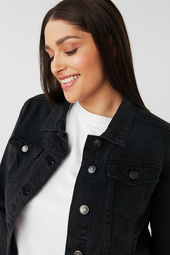 Casual Fitted Denim Jacket, WASHED BLACK