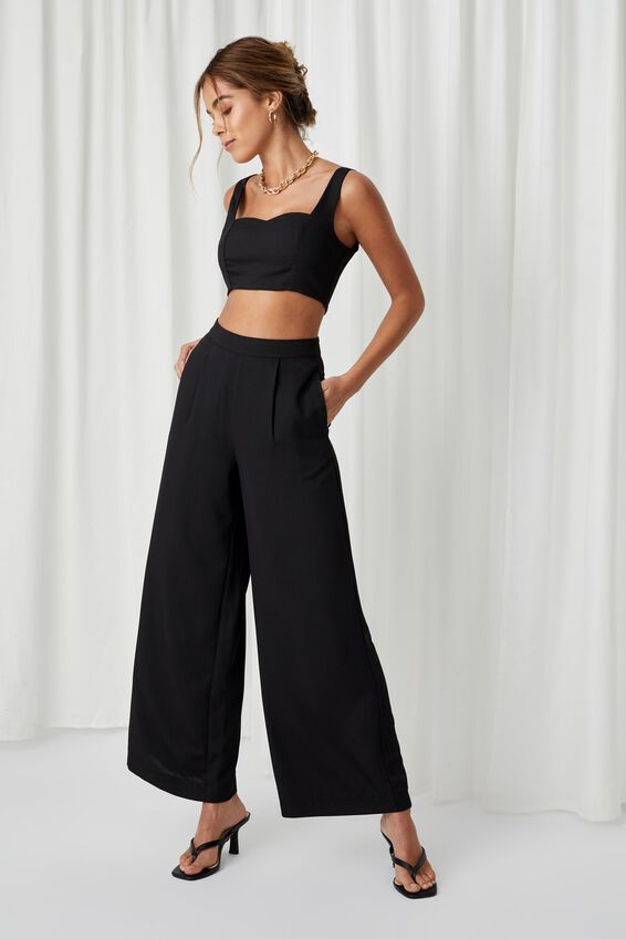 Phoebe Wide Leg Pant, BLACK