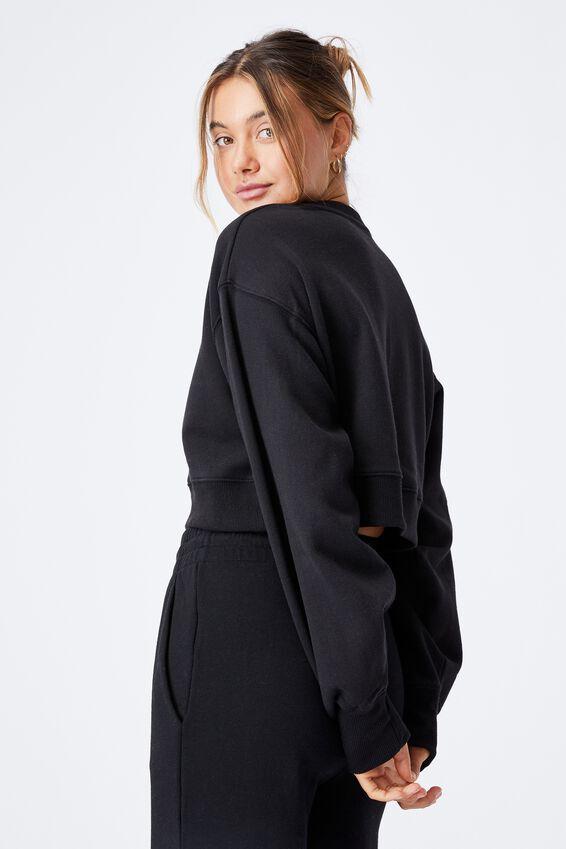 Louisa Cropped Jumper, BLACK