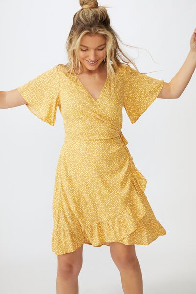 Emily Wrap Dress, SCRIBBLE SPOT MUSTARD