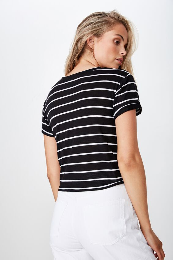 Laura Knotted Tee, BLACK/WHITE STRIPE