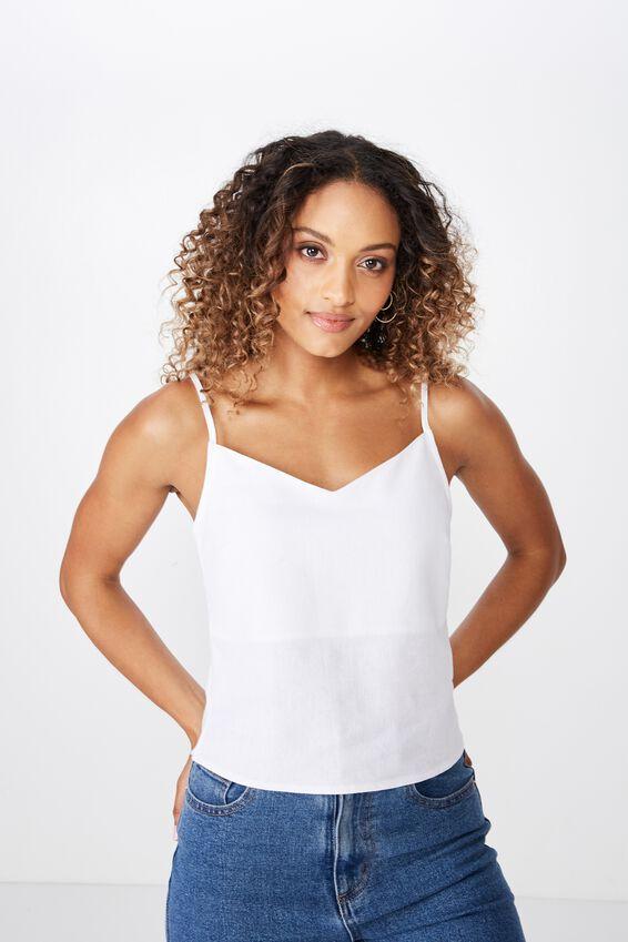 Midlength Lexi Linen Cami, WHITE
