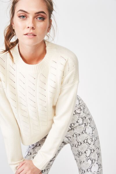 Leyla Longsleeve Cable Knit, CREAM PUFF