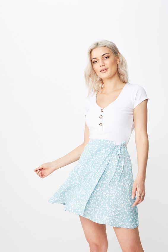 Macie Wrap Skirt, SAGE DITSY