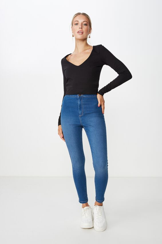 Short Super Skinny Sky High Jean, REBEL BLUE