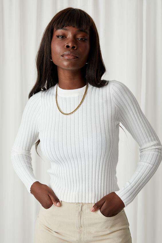 Willow Crew Neck Knit Top, WHITE