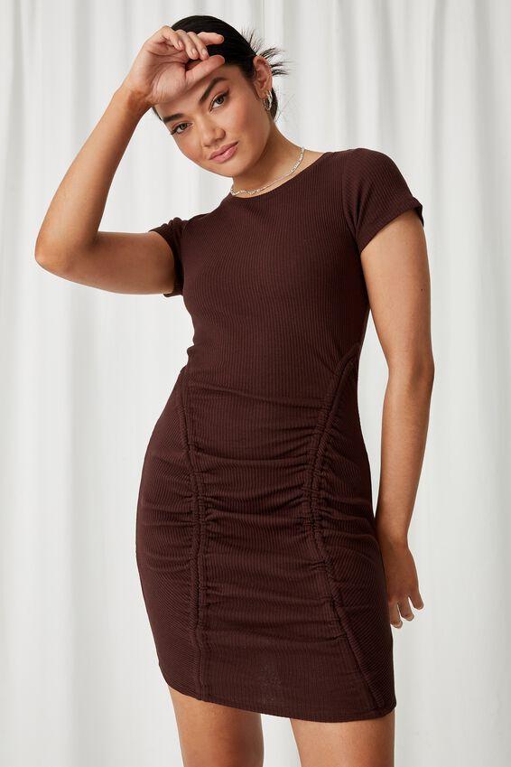 Laura Ruched Mini Dress, CHOCOLATE