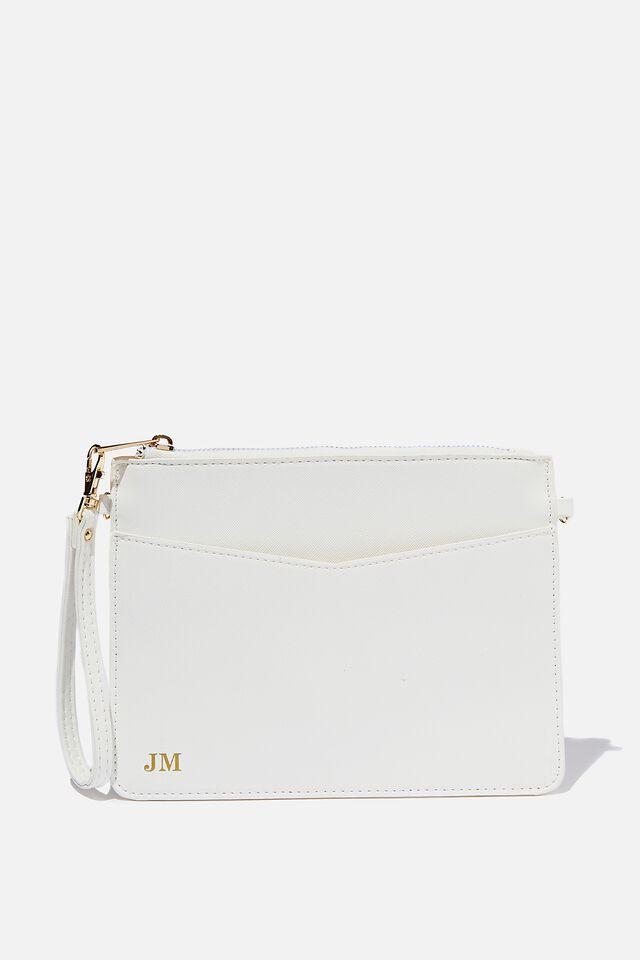 Nia Envelope Clutch, WHITE TEXTURE