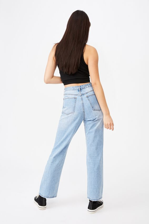 High Rise Straight Jean, POWDER BLUE