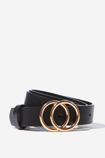 Double Hoop Belt, BLACK/ GOLD