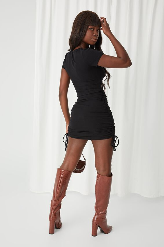 Julia Cut Out Ruched Dress, BLACK