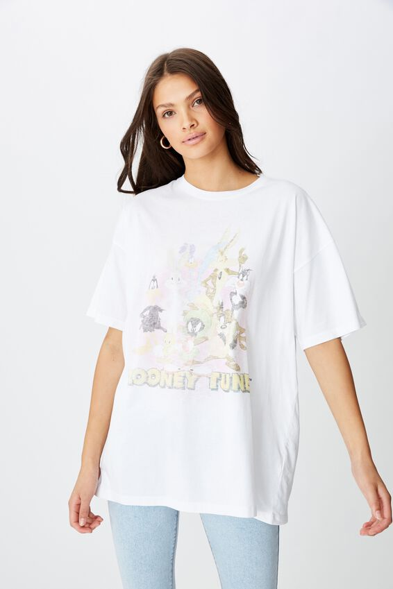 Oversized Looney Tunes Tee, DISTRESSED WHITE/LCN WB VINTAGE LOONEY TUNES