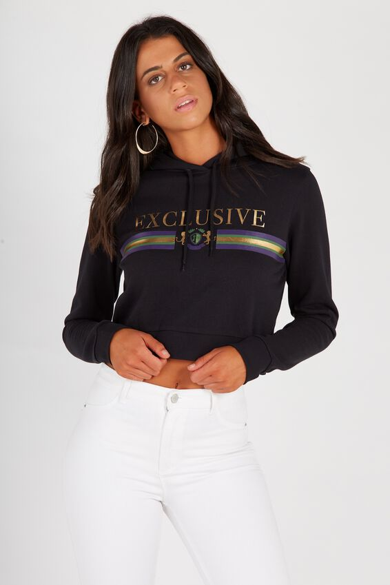 Graphic Cropped Hoodie   Tuggl