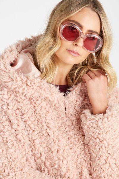 Pixie Glitter Retro Sunglasses, PINK GLITTER