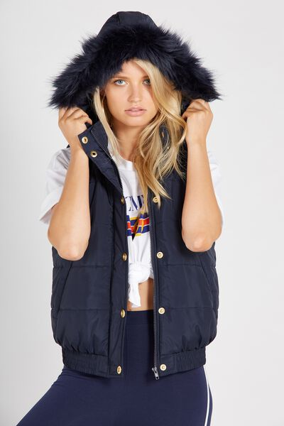 Faux Fur Trim Puffa Vest, NAVY