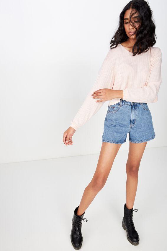 Priya Long Sleeve Rib Top, DIVINE PINK/WHITE